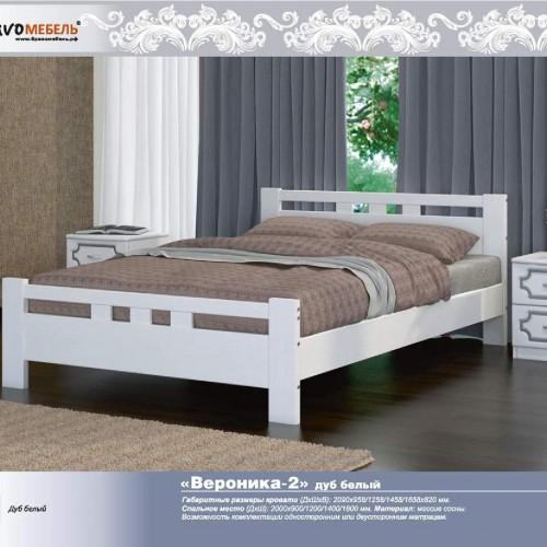 """Кровать из массива """"Вероника-2"""" Белый античный"""