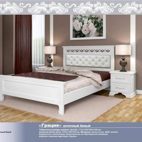 """Кровать из массива """"Грация"""" Белый античный"""