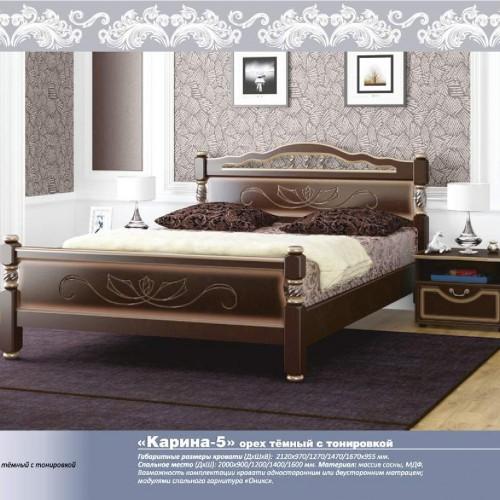 """Кровать из массива """"Карина-5"""" Орех темный"""