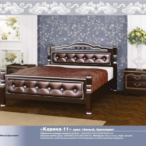 """Кровать из массива """"Карина-11"""" Орех темный бриллиант"""