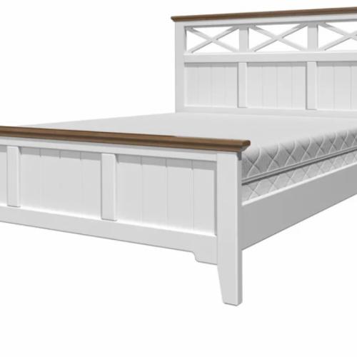 """Кровать из массива """"Грация-5"""" Белый античный/дуб коньяк"""