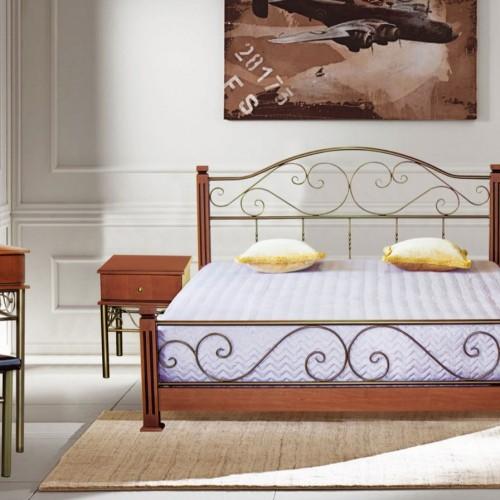Кровать кованная №3 (метал+бук)