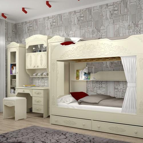 """Детская двухярусная кровать """"Ассоль"""" белое дерево АС-25"""